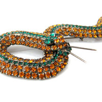 KENNETH J LANE Snake Brooch / 5 inch Huge KJL Rhinestone Figural Statement Brooch / 1980s Costume Jewelry