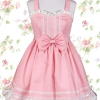 Fresh Cute Pink Sweetheart Sleeveless Straps Empire Bow Sweet Lolita Dress