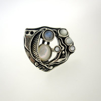 Handcrafted Sterling Silver Ring, Design by Amir Poran, Moonstone, Shell, Pearl