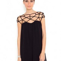 Black Asymmetrical Cut Out Chiffon Dress