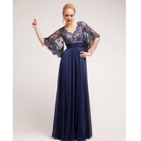 (PRE-ORDER) 2014 Prom Dresses - Navy Beaded Lace Open Sleeved Long Dress