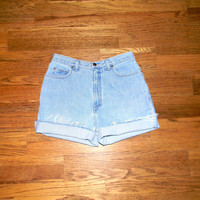 Vintage Denim Cut Offs, High Waisted 90s Light Wash Blue Jean Shorts - Cut Off/Frayed/Distressed/Rolled Up Land's End Shorts Size 9/10 11/12