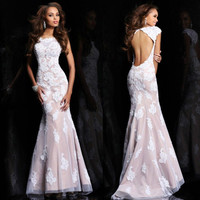 New Sexy Formal Evening Dresses Applique Mermaid Party Prom Gown*Custom