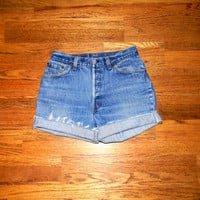 Vintage Denim Cut Offs - 90s Classic Stone Washed Blue Jean Shorts - High Waisted Cut Off/Faded/Distressed LEVIS Brand Shorts - Size 7/8