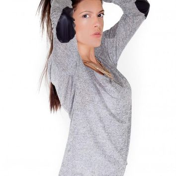 Gray Long Sleeve Top with Faux Leather Elbow Patch