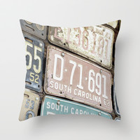Old License Plates Throw Pillow by 13RandomThings