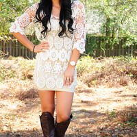 Crazy Cute Cowgirl Dress: Cream