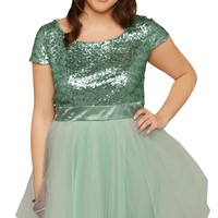 Plus Size Short Prom Dress with Sequin Bodice and Ballerina Skirt
