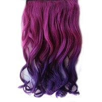 NSSTAR Clip-on One Piece New Two Tone Long Curl/curly/wavy Synthetic Thick Hair Extensions Hairpieces (Rose Red to Dark Purple)