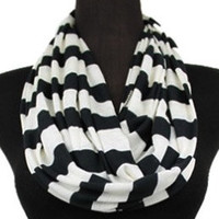 Fashion SALE: Soft and Comfy Black and White Striped Infinity Scarf