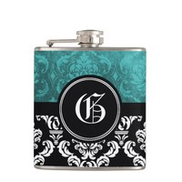 Black and Deep Teal Damask Monogram Flask