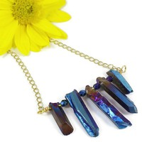 Blue Titaniium Electroplated Quartz Gold Chain Czech Glass Necklace