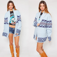 Vintage 70s STARSKY Sweater Sky Blue ETHNIC Hippie Cardigan Wrap Sweater