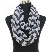 Black Two Tone Zig-Zag Chevron Infinity Scarf