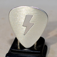 Sterling silver lightening bolt guitar pick