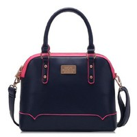 Contrast Color Hardware Cross Body Satchel Purse Shoulder Bag