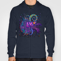 Love (swag awesome girly retro sexy rainbow hearts feathers swirls orange teal pink purple) Hoody by EllipsisArts