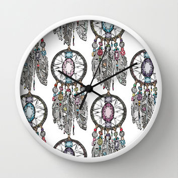 gemstone dreamcatcher Wall Clock by Sharon Turner