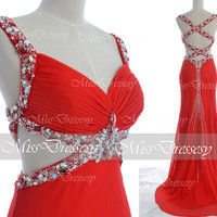 Red Prom Dresses, Sexy Formal Dresses, Straps V Neck with Crystal Beaded Red Chiffon Long Evening Dresses, Wedding Dresses, Formal Gown