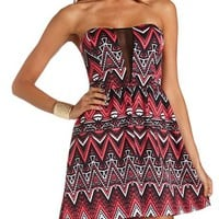 TRIBAL SCUBA MESH MINI DRESS
