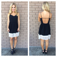 Black Vintage Eyelet Trim Spagetti Strap Dress