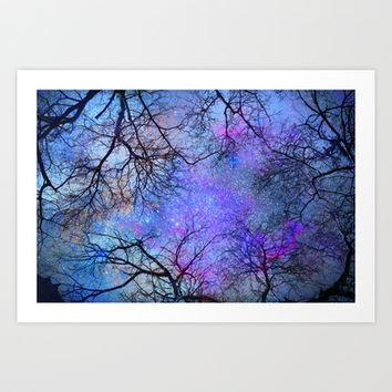 Sky dreams. Serial. Blue Art Print by Guido Montañés
