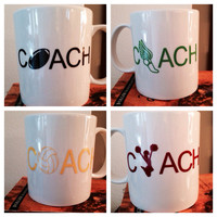 Coached coffee mugs. Custom coach coffee mug