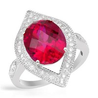New Sterling Silver Ring 6.47 CTW Ruby , Cubic Zirconia - 			        	Junior Girls and Boys Apparel & Accessories