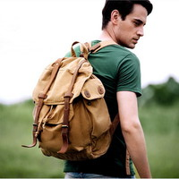Leather-buckle canvas Desert rucksack for men from Vintage rugged canvas bags