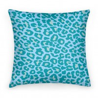 Blue Leopard Print Pillow