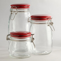 Glass Canisters with Red Clamp Lids - World Market