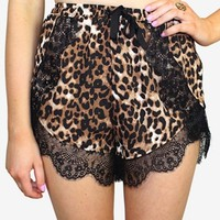 Leopard Print Shorts With a Scallop Lace Trim