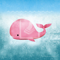 Underwater Pink Whale 8x8 Wall Art Decor Room Print by Caramel Expressions