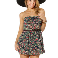 Papaya Clothing Online :: FLOWER CHIFFON TUBE BELTED ROMPER
