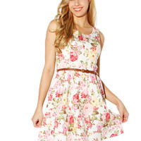 Papaya Clothing Online :: FLORAL PRINT BELT DRESS