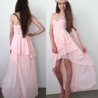 PINK ASYMMETRIC RUFFLE BUSTIER CORSET BODICE WATERFALL MAXI DRESS 8 10 12