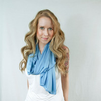 Light Blue Scarf Placid Infinity Spring Lightweight Wide Fashion