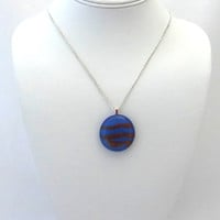 Glass-fused Candy Stripe Necklace Blue Brown