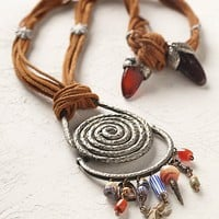 Vintage 1970s Suede and Metal Charm Necklace