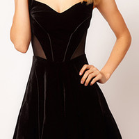 ROMWE Crossed Mesh Panel Black Dress