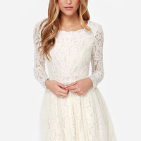 Be-Gauze I Love You Cream Lace Dress