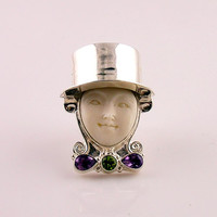 Carved Camel Bone, Peridot and Amethyst Fat Tuesday Adjustable Ring | KejaJewelry - Jewelry on ArtFire