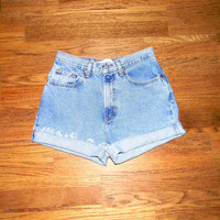 Vintage Denim Cut Offs - 90s Light Stone Washed Blue Jean Shorts - High Waisted Cut Off/Faded/Distressed GAP CLASSIC JEAN Shorts - Size 7/8