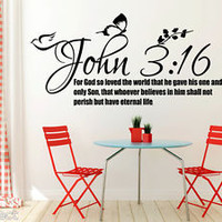 John 3:16 Bible Quote Christian Wall Sticker Inspirational Vinyl Decal Art