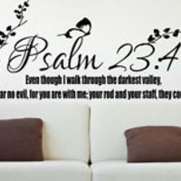 Psalm 23:4 Bible Quote Christian Wall Sticker Inspirational Vinyl Decal Art