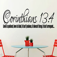 Corinthians 13:4 Bible Quote Christian Wall Sticker Inspirational Vinyl Decal