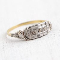 Antique 18k White & Yellow Gold Art Deco Diamond Ring - Size 8 1/4 Vintage Rose Cut 1920s Fine Jewelry