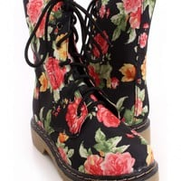 Black Floral Lace Up combat Boots Canvas