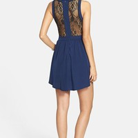 Lush Lace Inset Skater Dress (Juniors) | Nordstrom