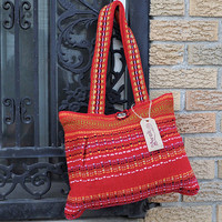 Handwoven Shoulder Bag - Woman Girls Ethnic Andean Red Color Bag - Alpaca Wool Bag - AWAK